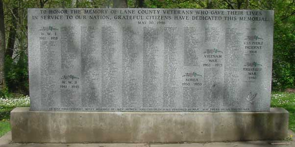 Lane County Veterans Memorial
