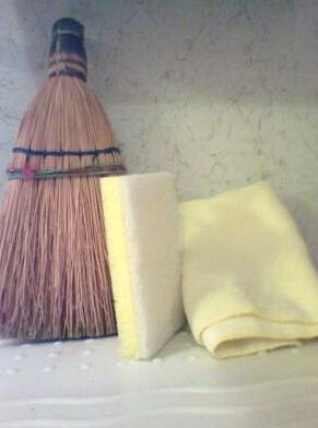 Broom, sponge, and towel