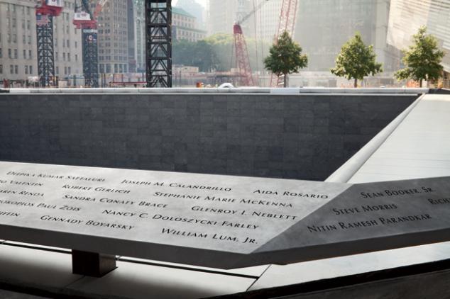 Names on the September 11th Memorial