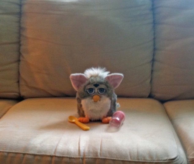 Furby on the couch