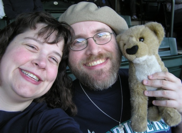Julia, Sam, and I at a Mariner game.