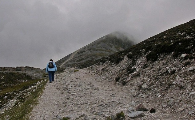 Solitary figure on pilgrimage path of Croagh Patrick