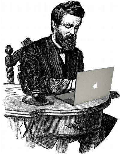19th c gentleman at 21st c laptop