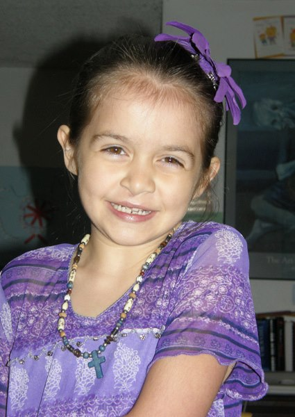 Anna in her purple dress.
