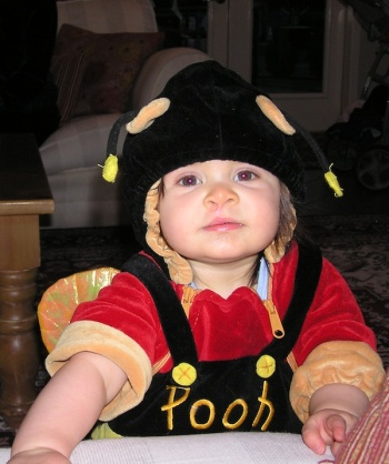 Anna as Pooh in a bee outfit