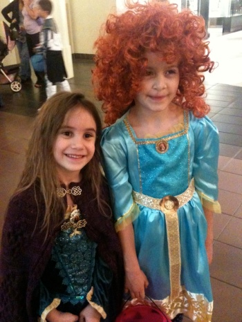 Anna and her friend dressed as Merida for Halloween