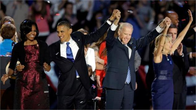 Barack and Michele Obama and Joe and Jill Biden on election night 2012