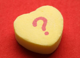 """?"" on candy heart"