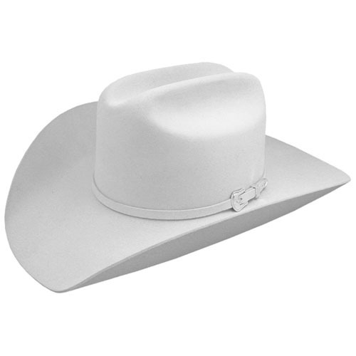 Wool felt cowboy hat in white.