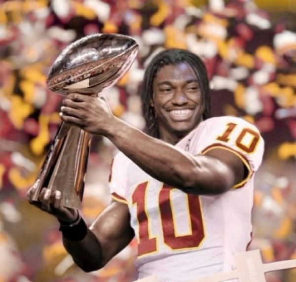 Photoshopped image of RGIII with the Lombardi Trophy