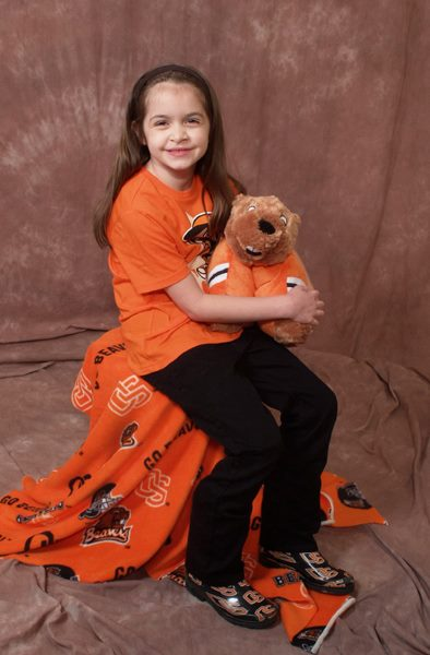 Anna and Woody (OSU Beaver Pillow Pet)