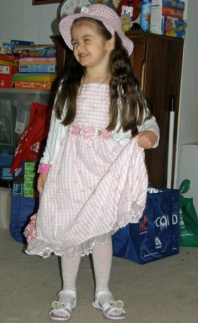 Four year old Anna in an Easter Dress