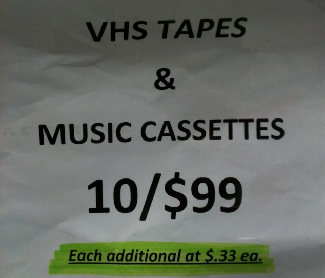 VHS & MUSIC CASSETTES 10/$99 (Each additional at $.33 ea.)