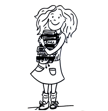 Line-art drawing of a girl holding a stack of books.