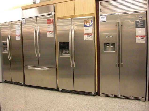 A row of expensive refrigerators for sale