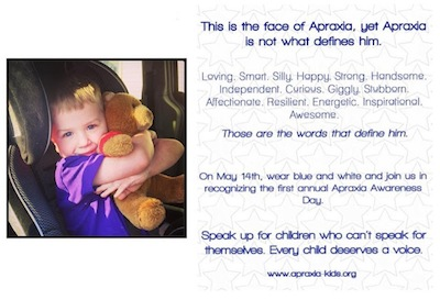 Cha Cha's Apraxia Awareness Day flyer