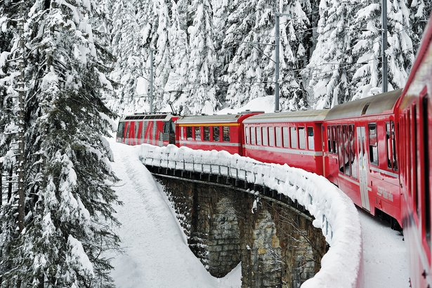 The snow-covered mountains and punctual trains of Montreux, Switzerland, summon childhood train sets, and the daydreams that accompanied them.