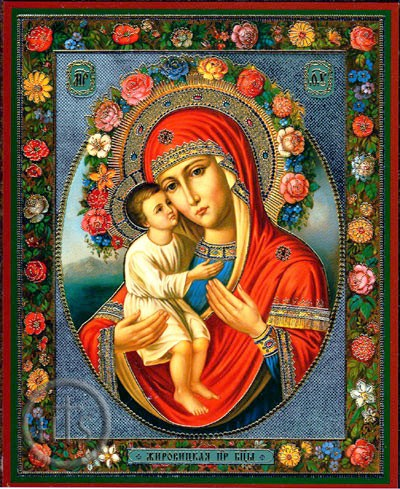 Icon of the Virgin and Child surrounded by flowers