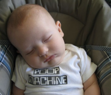 Sleeping baby with poop machine shirt