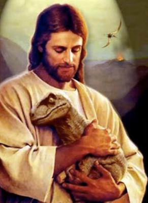 Jesus as Good Shepherd holding a baby velociraptor.
