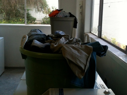 Laundry left in the dryers.