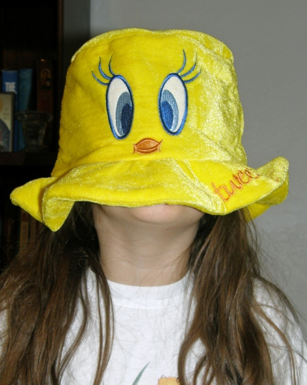 Anna in a Tweety Bird hat