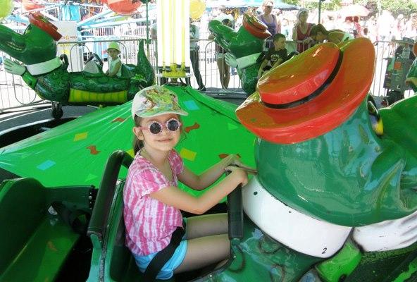 Anna rides a gator car