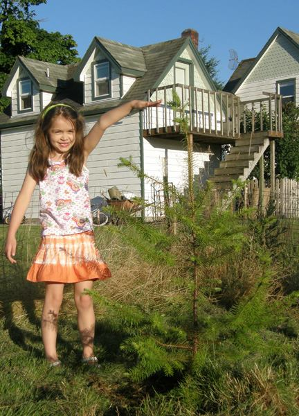 Anna and the tree in 2012