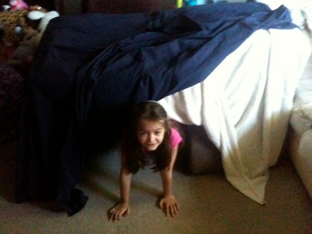 Anna in a large pillow fort