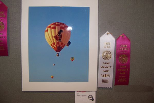 Photo of a balloon with second prize ribbon.