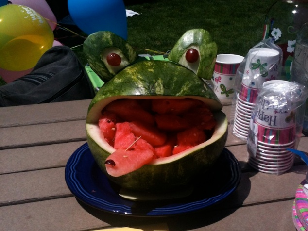 A frog carved from watermelon