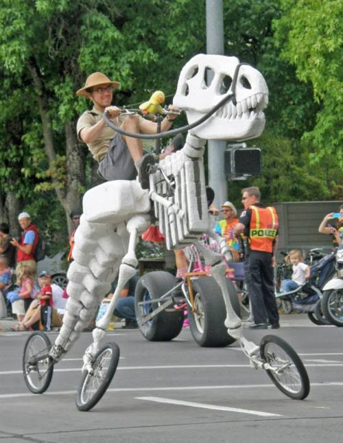 A T-Rex-skeleton shaped tricycle