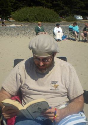 "Reading Flannery O' Connor's ""The Complete Stories"" at the beach"