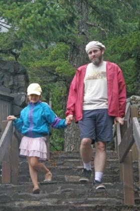 Walking down the steps together at Salt Creek Falls