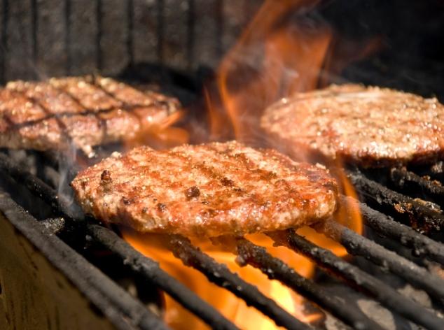 Turkey burgers on BBQ grill