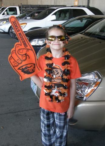 In Beaver gear from head to toe.