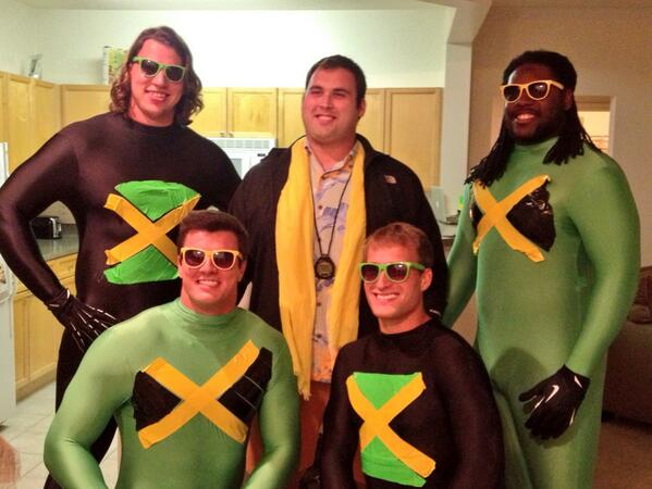 Redskins players dressed as the Jamaican Bobsled Team