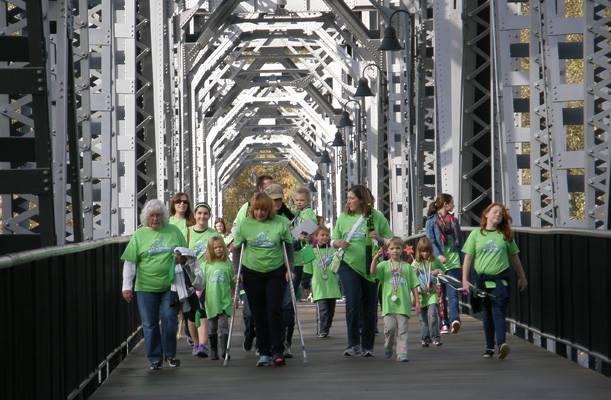 Walkers on pedestrian bridge