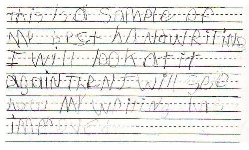 Dysgraphia writing sample.