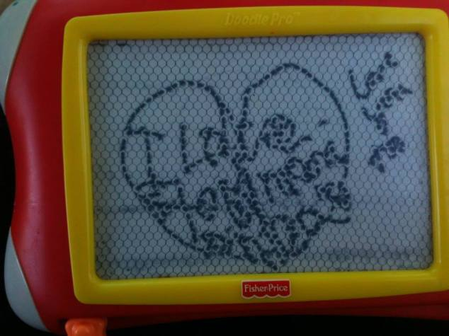 Anna's message on her magnadoodle.
