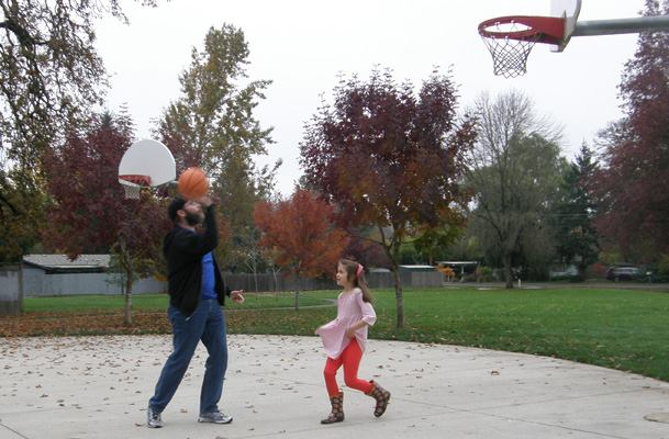Anna and I play a little hoops.