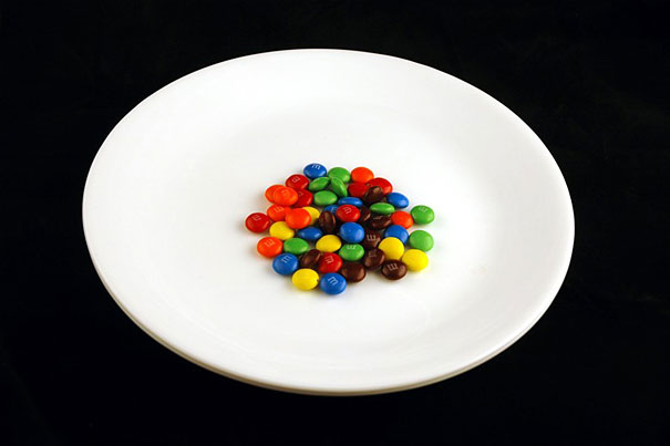 A plate with a small cluster of M&Ms