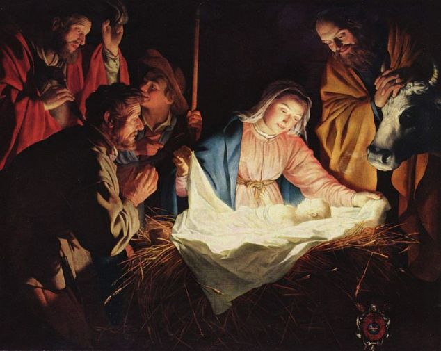 Jesus, Mary, and the shepherds.