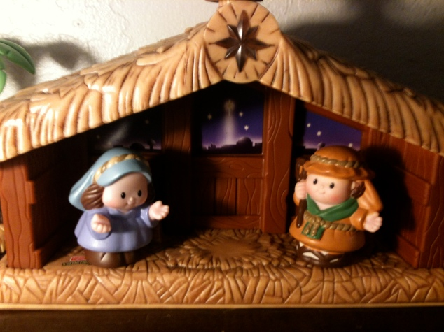 Little Mary and Joseph, waiting for Baby Jesus