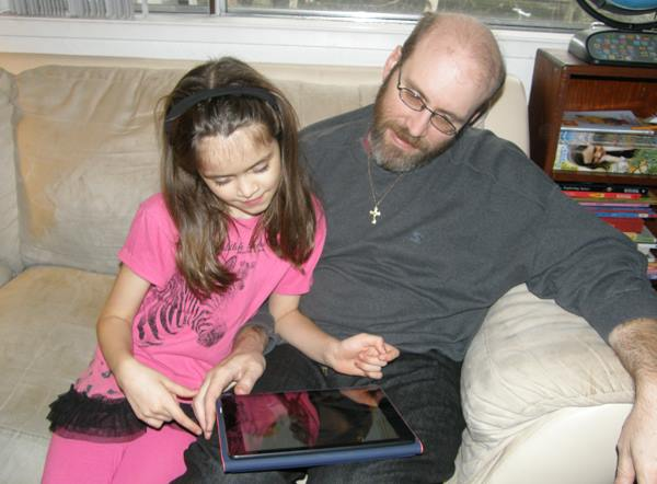 Anna and I check out her new iPad Air