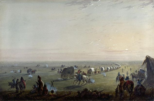 Wagons at sunrise