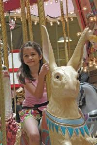 On a carousel bunny