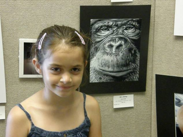Anna and her chimp photo (in monochrome)