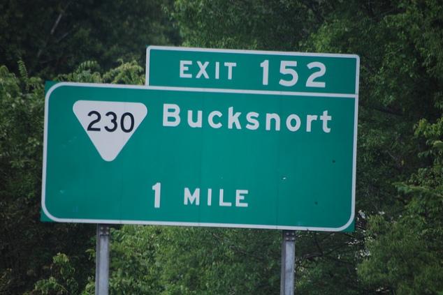 Exit 152. Bucksnort, 1 Mile