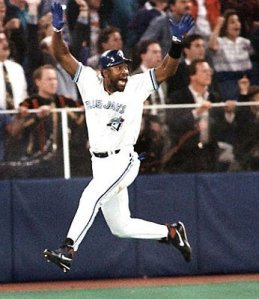 Joe Carter celebrating